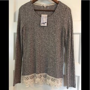 NWT Jolt Lace ribbed Top